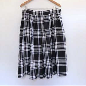 Asos Plaid Midi Skirt 14 Pleated High Rise Pockets